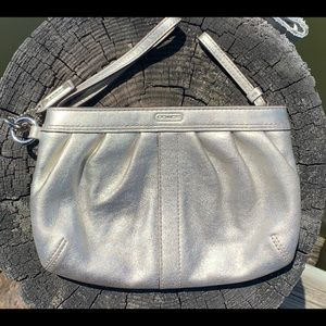 Coach silver clutch wristlet make up bag